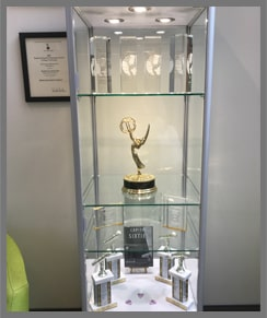 Award case in the Convergent Media Center